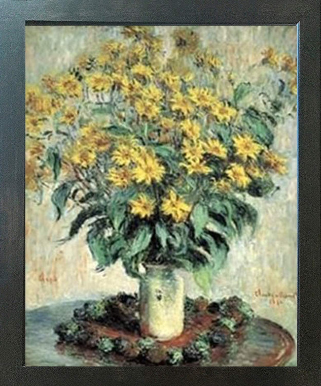 Claude Monet Sunflowers Floral Wall Decor Espresso Framed Art Print Poster (18x24)
