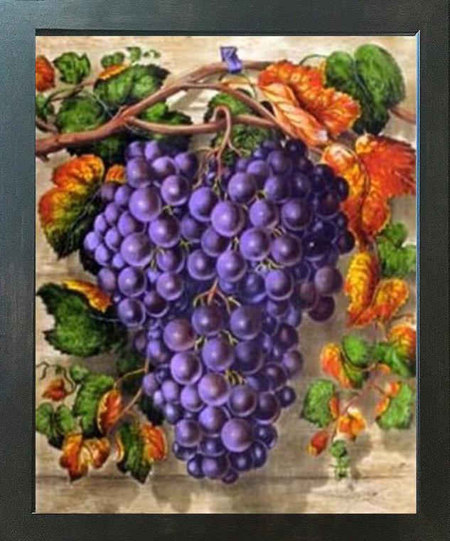 Black Grape Still Life Fruit Kitchen Wall Decor Espresso Framed Art Print Poster (18x24)
