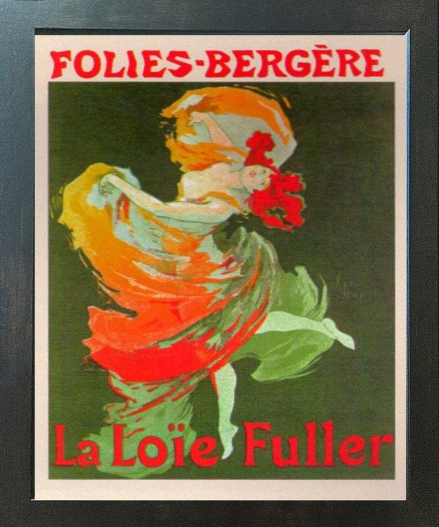Fashion Girl Dance Dancing La Loie Fuller Folies Bergere Vintage Wall Decor Espresso Framed Art Print Poster (18x24)