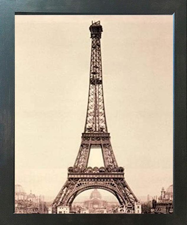 Vintage Paris Eiffel Tower Wall Decor Espresso Framed Art Print Poster (18x24)