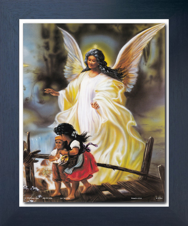 Guardian Angel With Children On Bridge Religious And Spiritual Wall D??cor Espresso Framed Art Print Poster (18x24)