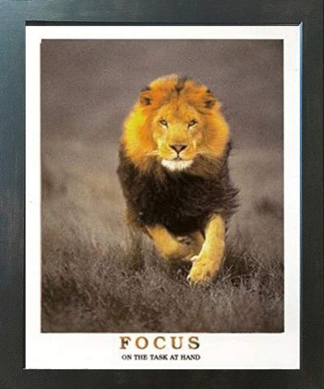 Running Lion Focus On The Task At Hand Wildlife Inspirational Animal  Espresso Framed Art Print Poster (18x24)