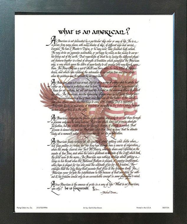 """What Is an American"" Motivational & Inspirational Wall Decor Espresso Framed Art Print Poster (18x24)"