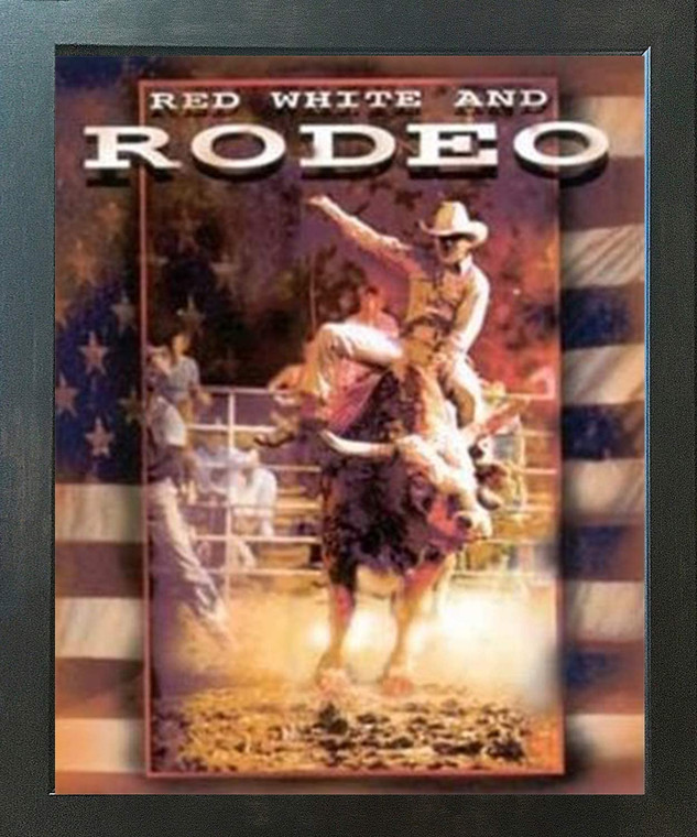Vintage Western Rodeo Cowboy Horse Riding Wall Decor Espresso Framed Art Print Poster (18x24)