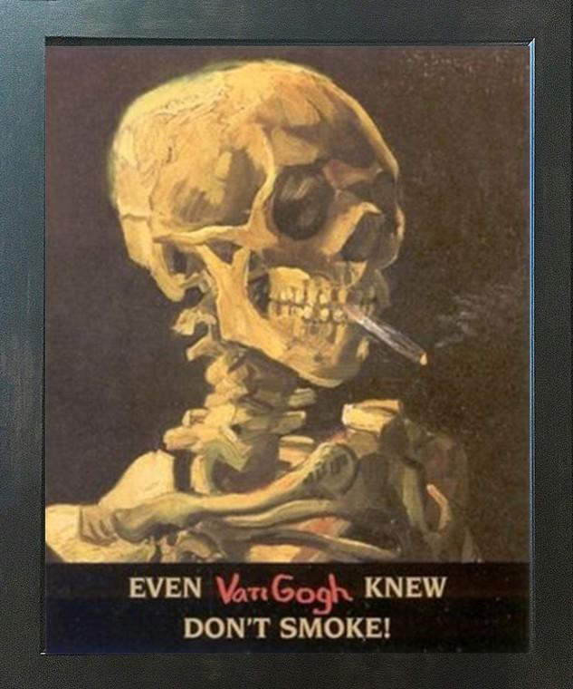 Don't Smoke Skeleton with Cigarette Vincent Van Gogh Espresso Framed Art Print Poster (18x24)