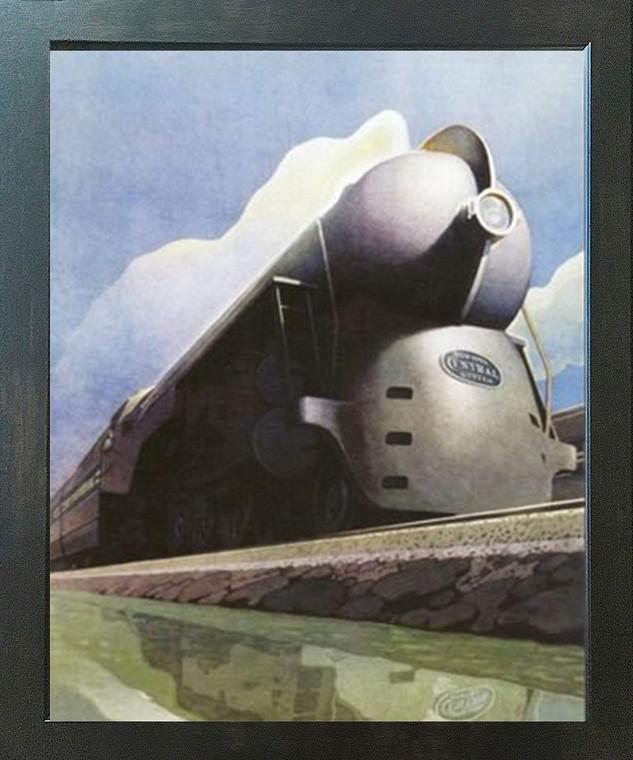 Vintage New York Central Locomotive Train Wall Decor Espresso Framed Art Print Poster (18x24)