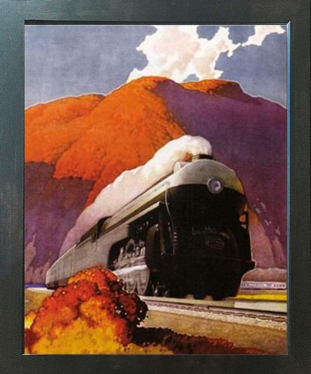 Vintage Mountain Express Train Wall Decor Espresso Framed Art Print Poster (18x24)