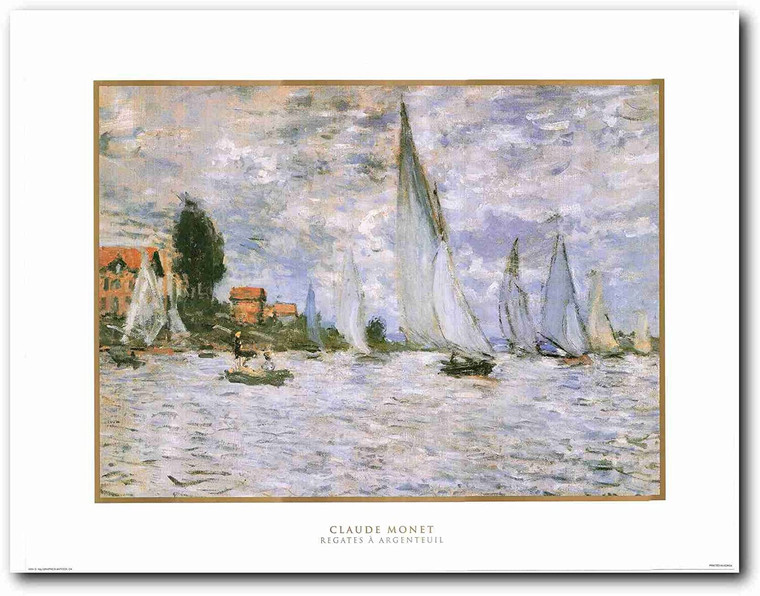 Picture Wall Decor Claude Monet - The Regatta At Argenteuil, Impressionist Painting Art Print Poster (22x28)