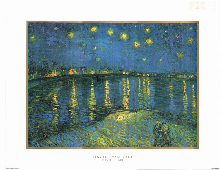 Picture Wall Decor Vincent Van Gogh Starry Night Over the Rhone Art Print Painting Poster (22x28)