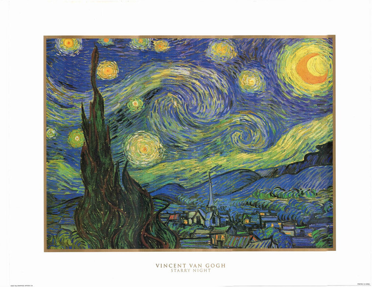 Picture Wall Decor Vincent Van Gogh Starry Night Painting Art Print Poster (22x28)