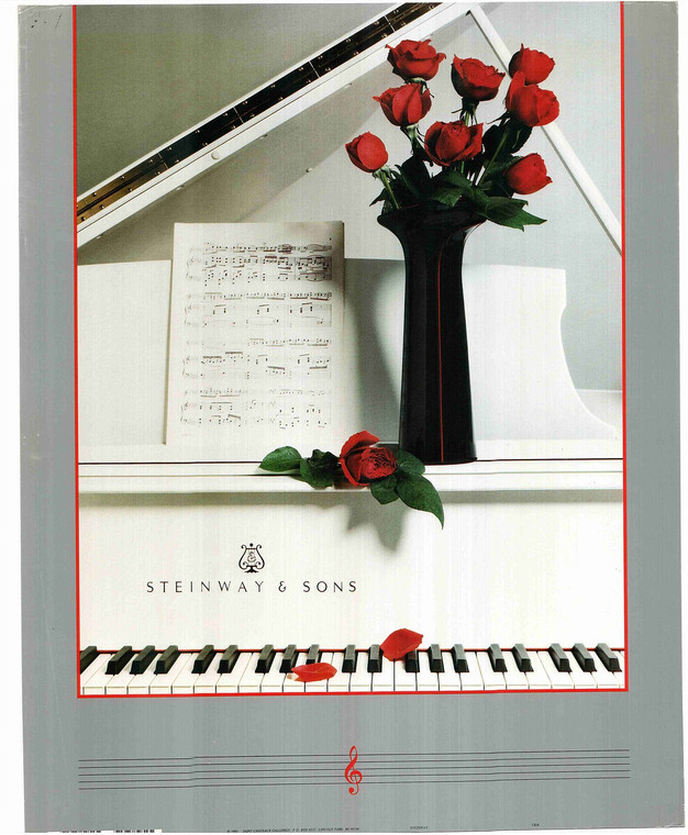 Grand Piano with Roses Poster