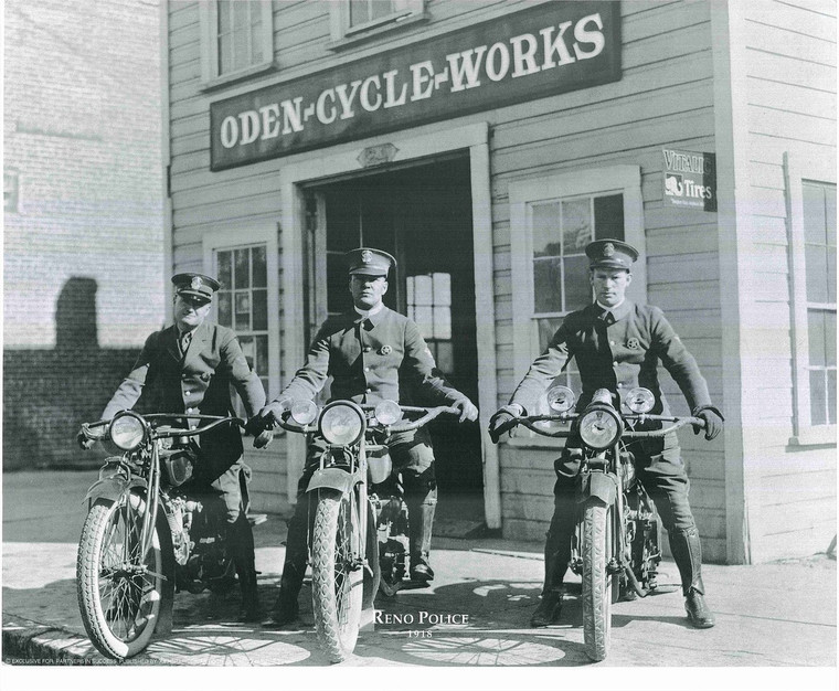 Vintage Reno Police Motorcycle Oden Cycle Works Art Print Poster (16x20)