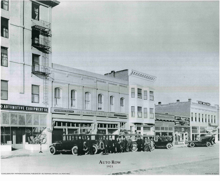 1921 Auto Row Vintage Motor Car Black and White Wall Decor Art Print Poster (16x20)