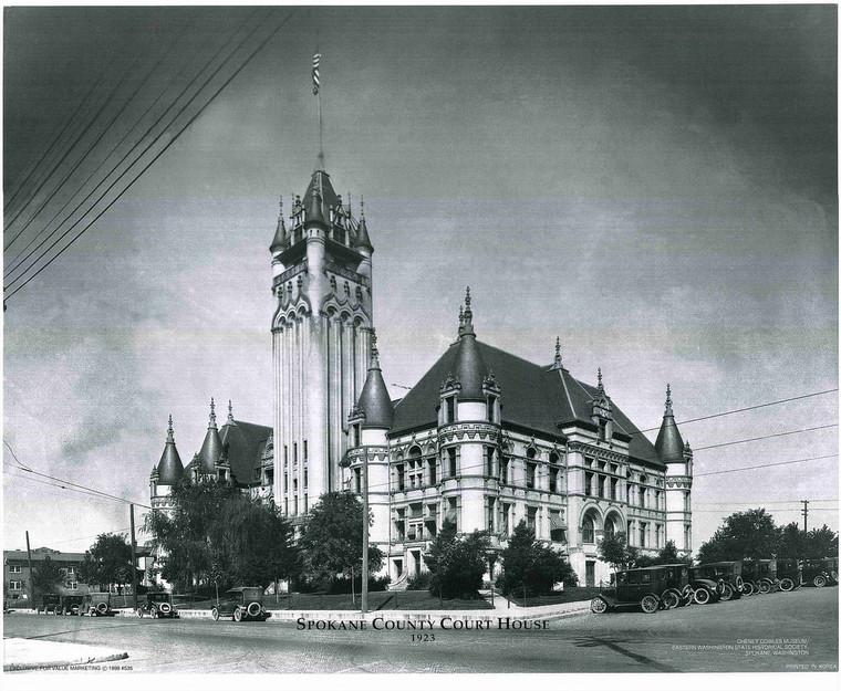 Vintage Spokane Country Court House Wall Decor Art Print Poster (16x20)