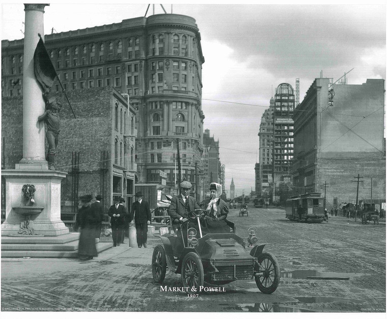 1907 Market and Powell Vintage Wall Decor Black and White Art Print Poster (16x20)