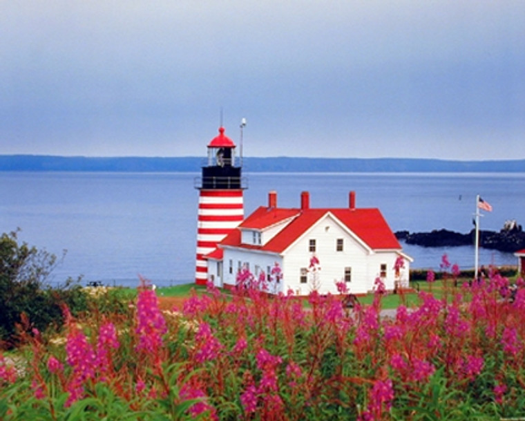 Maine West Quoddy Head Lighthouse Seascape Scenery Nature Wall Decor Art Print Poster (16x20)