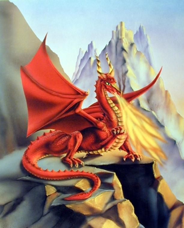 Fire Dragon Mythical Sue Dawe Wall Decor Art Print Poster (16x20)