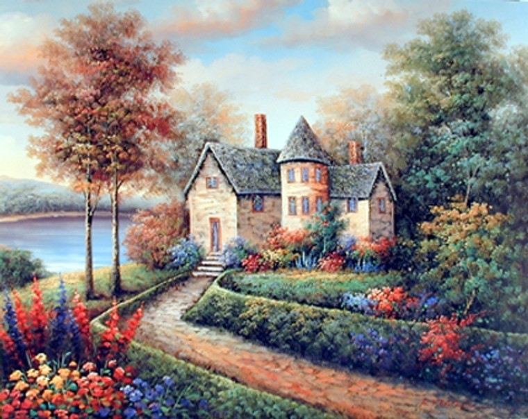 Country Cottage Lake Rustic Landscape Fine Wall Decor Art Print Poster (16x20)