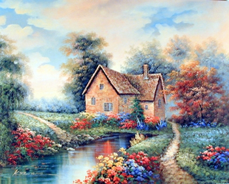 Country Cottage Garden Flowers River Scenery Landscape Wall Decor Art Print Poster (16x20)