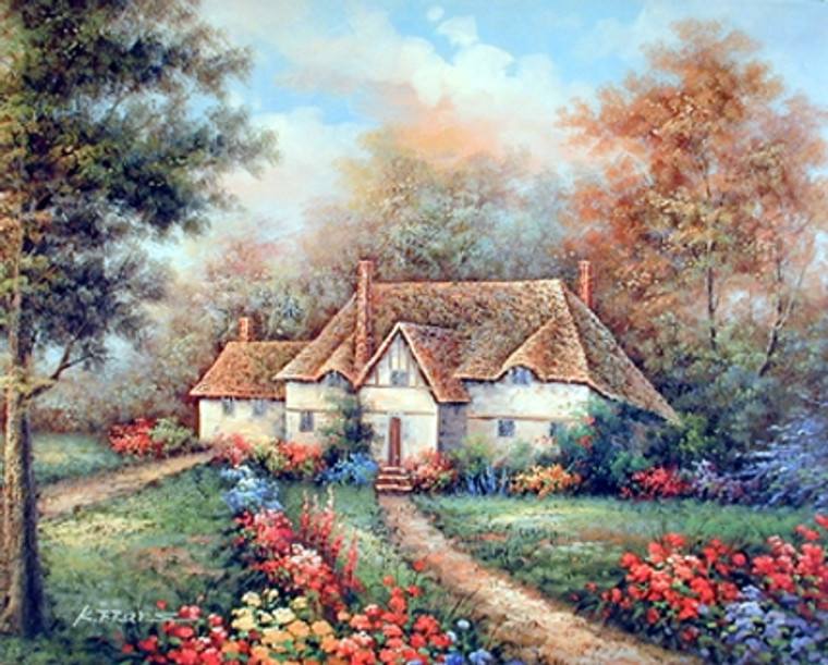 Rustic Country Cottage Garden Scenery Wall Decor Art Print Poster (16x20)