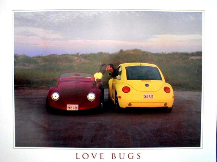 Volkswagen Love Bug Classic Vintage Car & Cute Couple Wall Decor Art Print Poster (16x20)