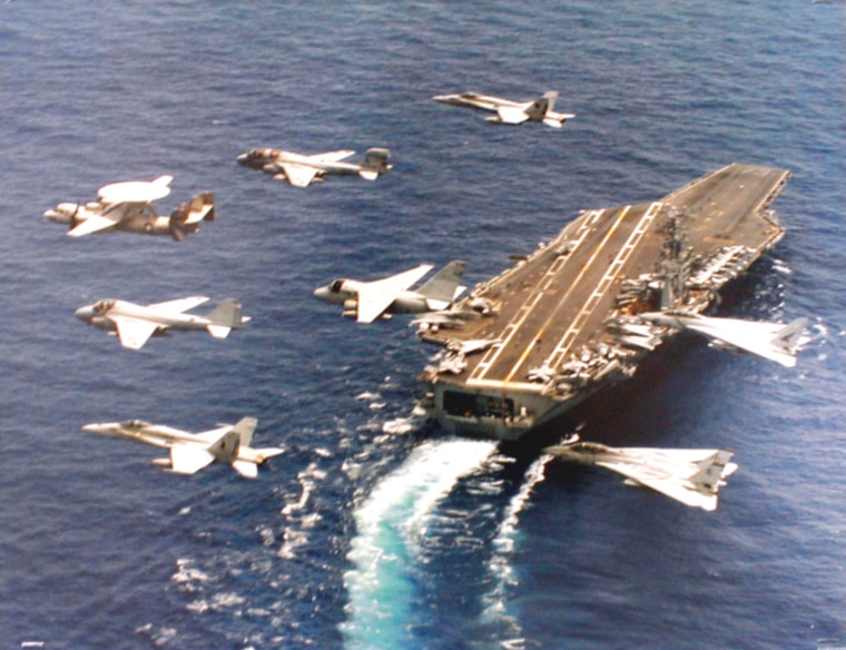 Military Jets Flying By Navy Aircraft Carrier USS George Washington Aviation Art Print Poster (16x20)
