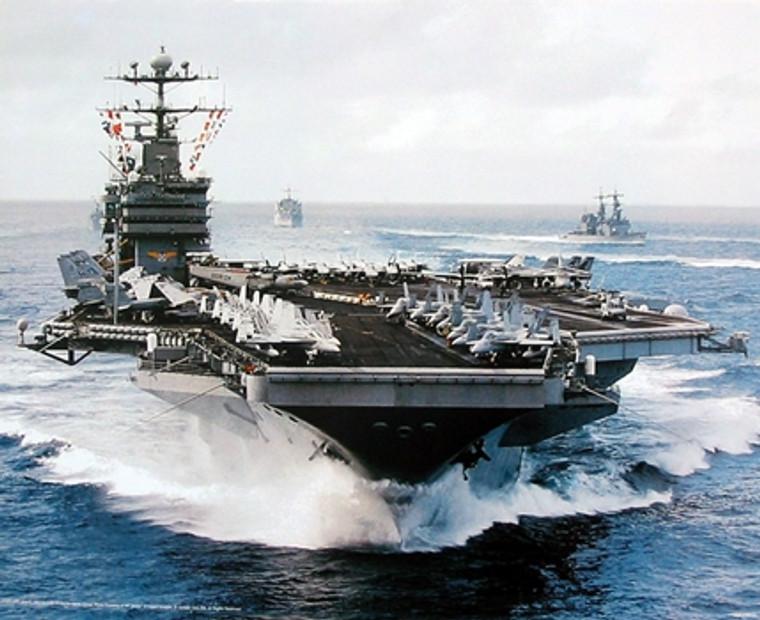Aircraft Carrier USS John C. Stennis Navy Ship Military Aircraft Wall Decor Art Print Poster (16x20)