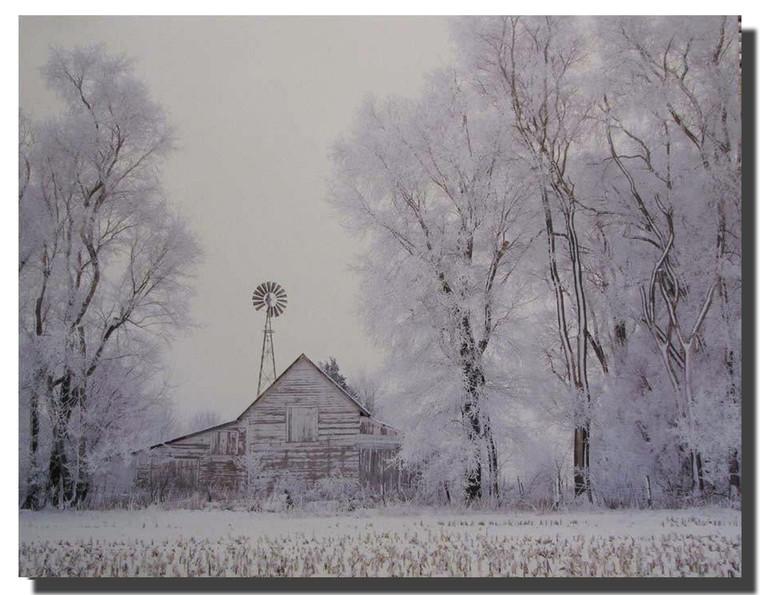 Fog Rural Country Barn Winter Snow Tree Wall Decor Art Print Poster (16x20)