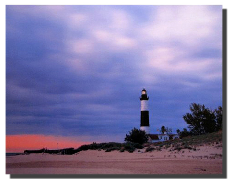 Big Sable Point Lighthouse At Michigan Landscape Wall Decor Art Print Poster (16x20)