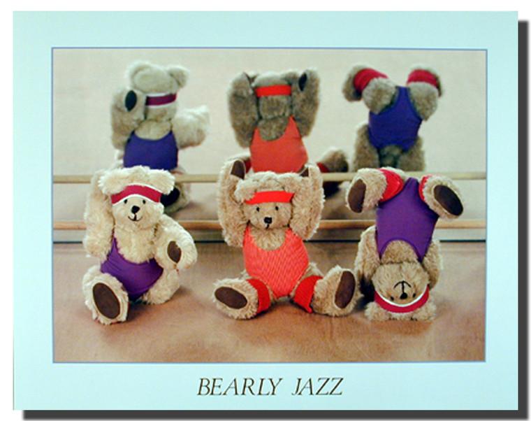 Bearly Jazz Cute Kids Stuffed Bear Dance Wall Decor Art Print Poster (16x20)