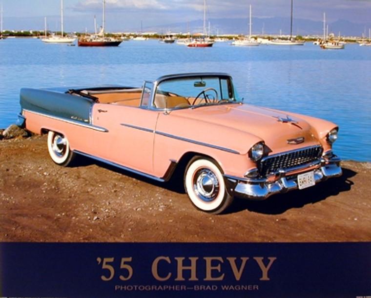 1955 Chevy Bel Air Convertible Classic Vintage Car Wall Decor Art Print Poster (16x20)