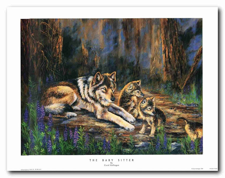 Grey wolf family Wildlife Animal Painting Wall Décor Art Print Poster (22x28)