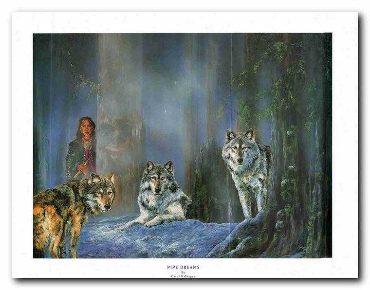 Three Grey Wolf Pipe Dream Native American Wall Decor Art Print Poster (22x28)