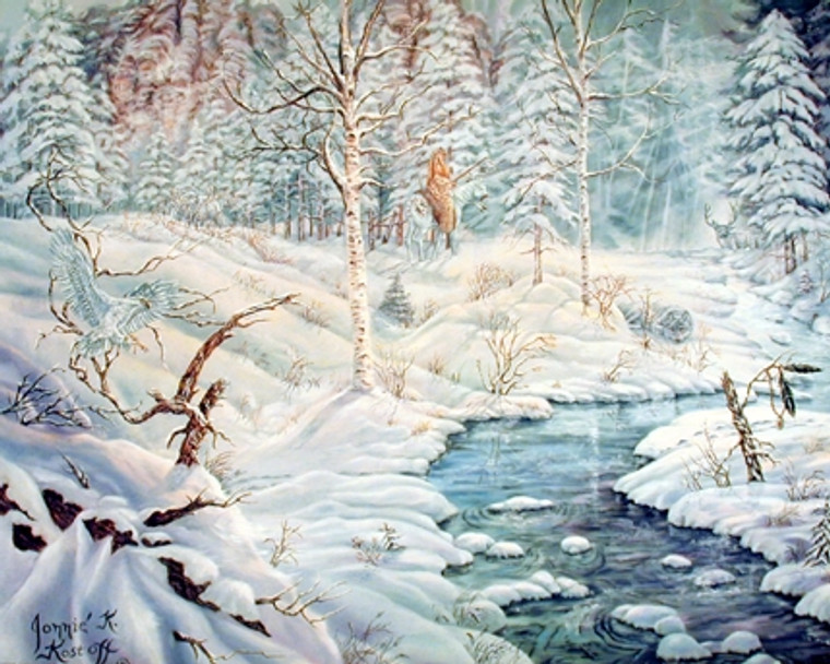 Albinos of Birch Creek Covered with Snow Scenery Nature Wall Decor Art Print Poster (16x20)