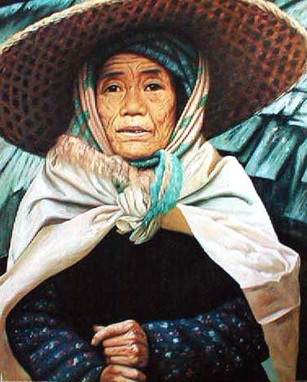 Asian Japanese Elderly Woman in Hat Wall Decor Art Print Poster (16x20)