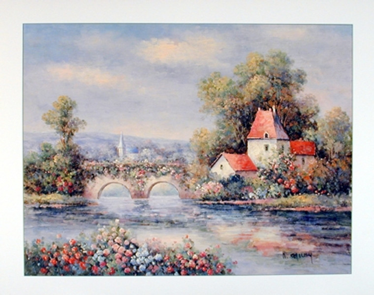 Country Cottage Floral Bridge Scenery Nature Wall Decor Art Print Poster (16x20)