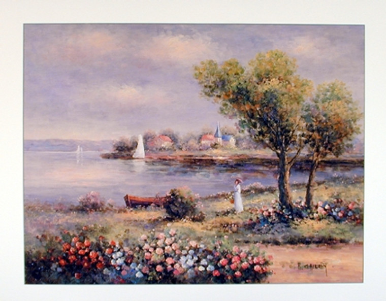 Country Cottage Lake Scenery Wall Decor Art Print Poster (16x20)