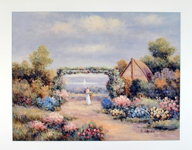 Flower Garden Country Cottage Scenery Wall Decor Art Print Poster (16x20)