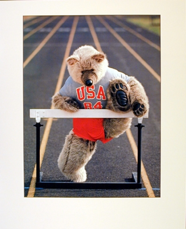Cute Teddy Bear Racing Hurdle Funny Kids Room Wall Decor Art Print Poster (16x20)