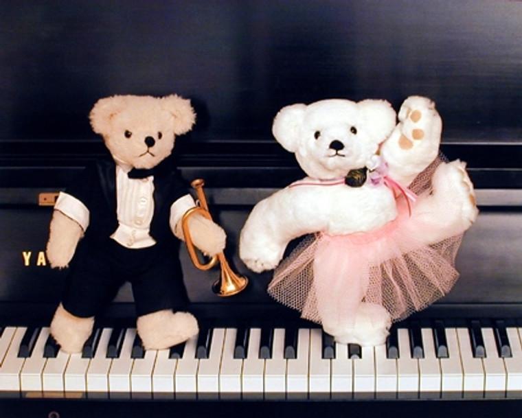 Teddy Bear Couple on Piano Music Wall Decor Art Print Poster (16x20)