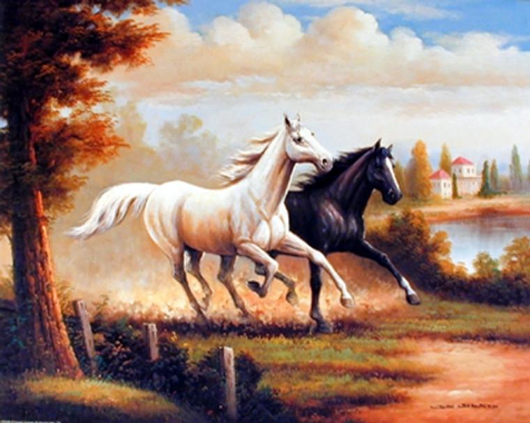 Wild Stallion Horses Running Western Wall Decor Art Print Poster (16x20)