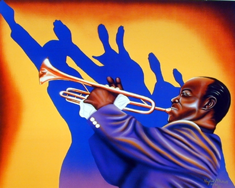 Birth of the Blues Trumpet Man Music Wall Decor Art Print Poster (16x20)