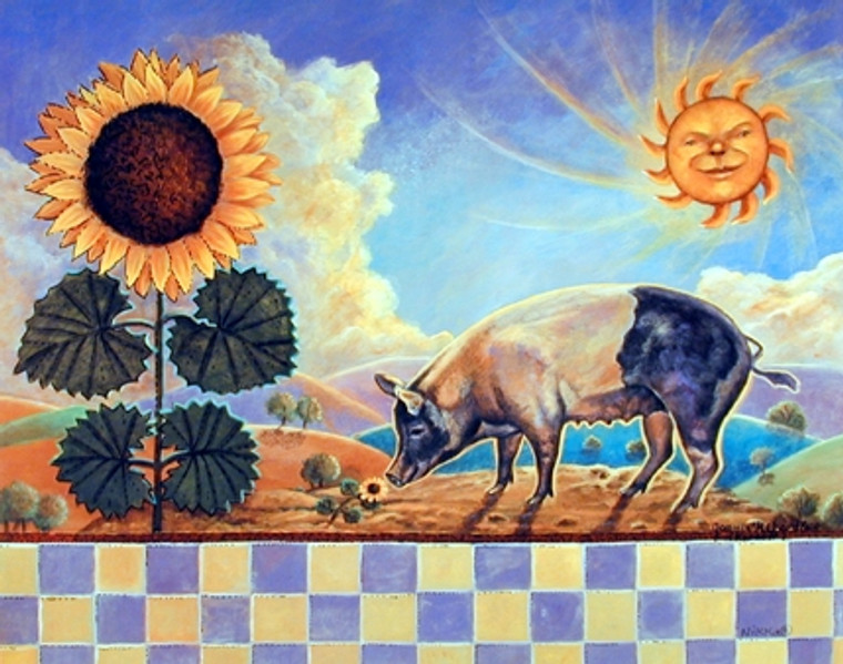 Country Pig Sunflower and Sun Wall Decor Art Print Poster (16x20)