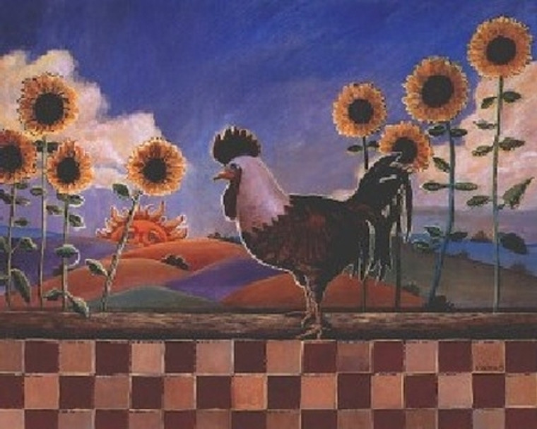 Country Sunflowers and Rooster Chicken Animal Kitchen Wall Decor Art Print Poster (16x20)