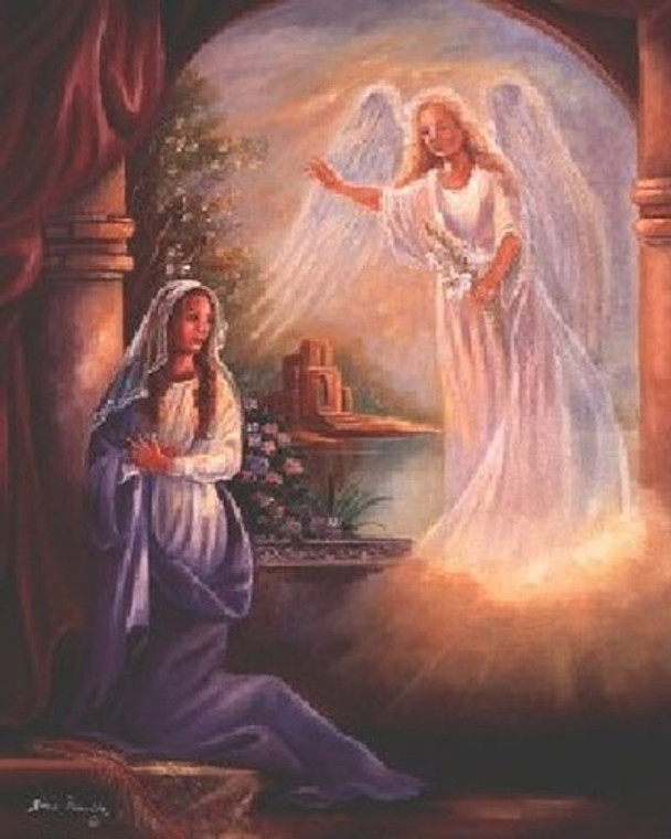 Mary with Angel Religious Wall Decor Art Print Poster (16x20)