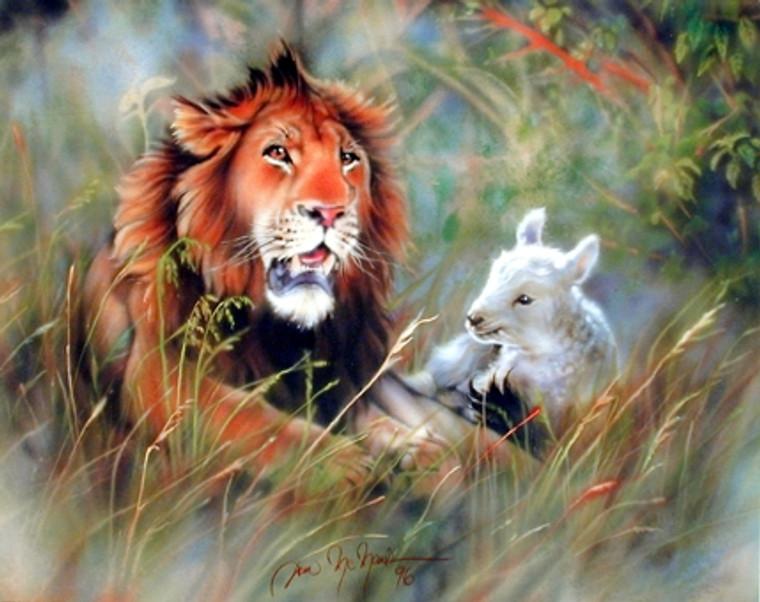 Lion And Lamb Spiritual Wall Decor Art Print Poster (16x20)
