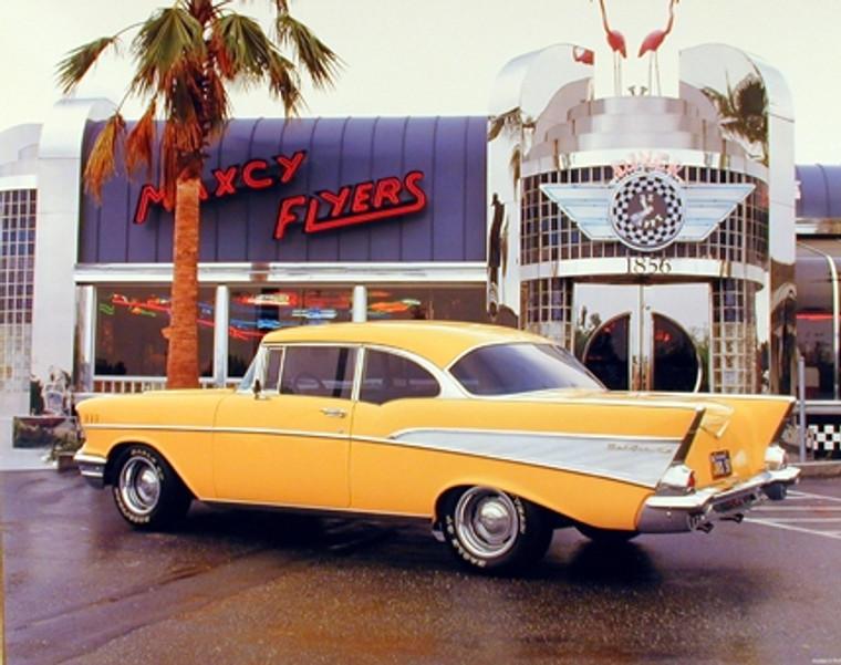 Yellow Chevy Bel Air 1957 Vintage Classic Car Wall Decor Art Print Poster (16x20)