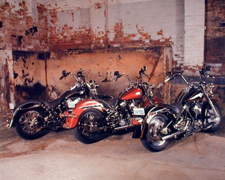 Three Old Harley Davidsons B Lovell Motorcycle Bike Wall Decor Art Print Poster (16x20)