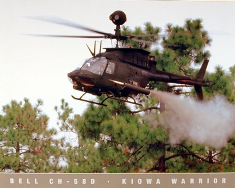 Military Bell CH 58D Kiowa Warrior Helicopter Aviation Wall Decor Art Print Poster (16x20)