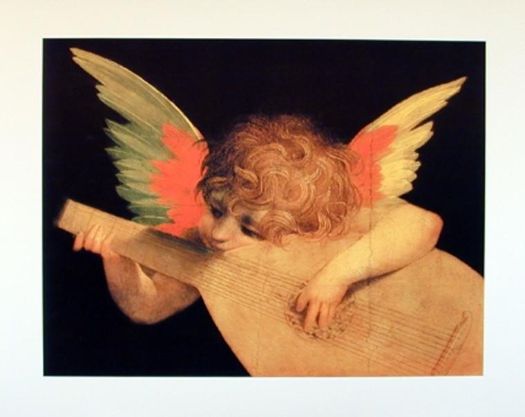 Angel Playing Mandolin Music Instrument Religion Wall Decor Art Print Poster (16x20)